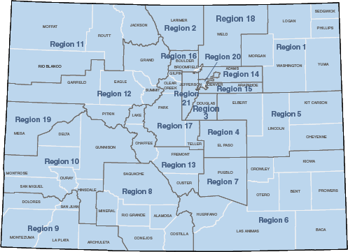 Colorado Health Statistics Regions Map