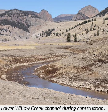 Photo of Lower Willow Creek channel during construction