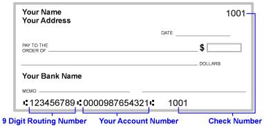 Bank routing numbers are at the bottom of your check